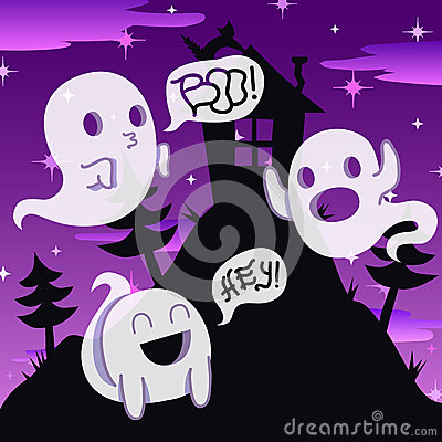 Free Ghost Vector Night Background With House On The Hill And Trees Stock Image - 50711081