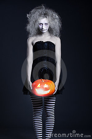 Free Ghost With Orange Pumpkin Stock Image - 16161541