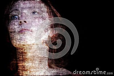 Ghostly grunge woman