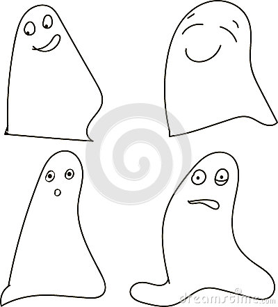 Free Ghosts, Black-and-white, Drawing, Emotions: Joy, Happiness, Surprise, Shock, Halloween, Halloween Royalty Free Stock Photography - 60868547