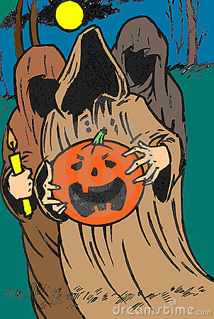 Ghosts with Halloween pumpkin