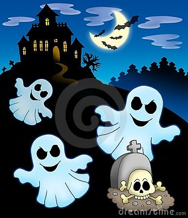 Ghosts with haunted house