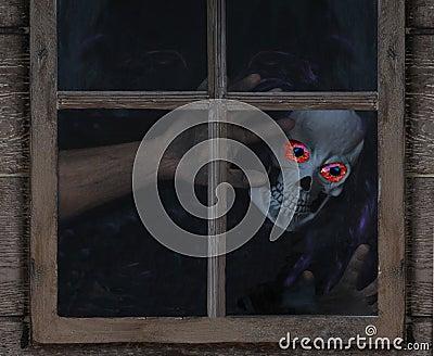 Ghoul Looking Through Rustic Window