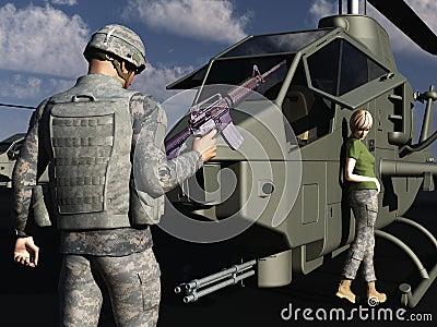 GI flirting with female helicopter mechanic