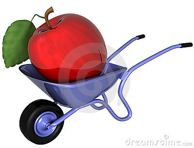 Giant apple in a wheelbarrow
