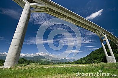 Giant bridge and the Alps