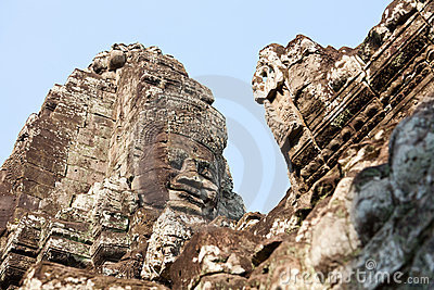 Giant buddha face at Bayon temple, Cambodia