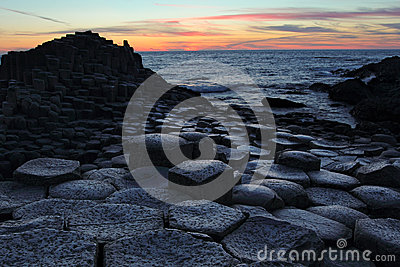 Giant Causeway in Antrim county at sunset