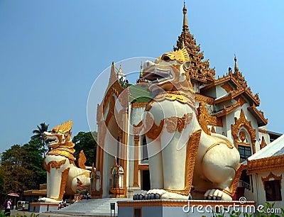 Giant Chinthe, Shwedagon Pagoda entrance Yangon Myanmar