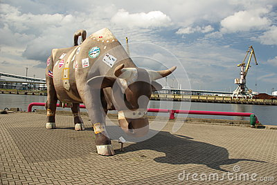 Giant Cow Figure in Ventspils Latvia Editorial Stock Photo