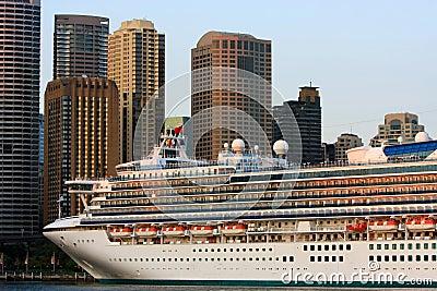 Giant Cruise ship in Sydney Harbour, Australia.