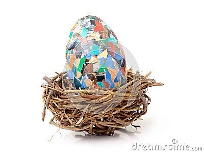 Giant easter egg in nest