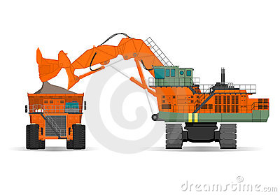 Giant excavator and ridig dump truck in a surface