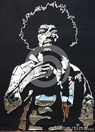 Jimi Hendrix broken mirrors Editorial Stock Image