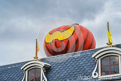 Giant pumpkin on a roof