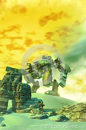 Free Giant Robot And Soldier Royalty Free Stock Images - 114404209