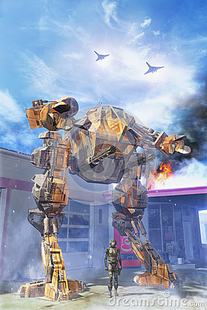 Free Giant Robot At Battle With Pilot Stock Images - 74762374
