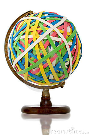 Giant Rubber Band Ball on Wooden Stand