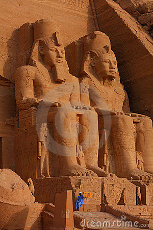 Giant statues at Abu Simbel in Egypt