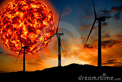 Giant sun and wind turbines