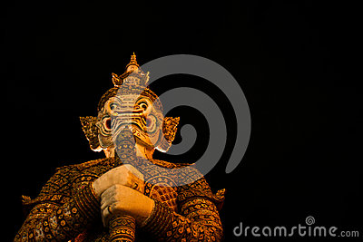 Giant at Temple of The Emerald Buddha Stock Photo