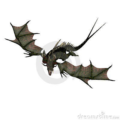 Giant terrifying dragon with wings and horns