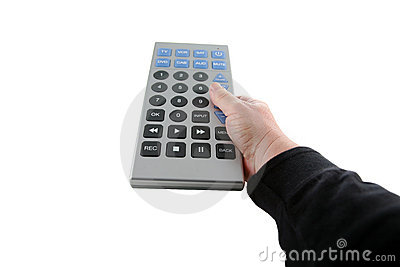 Giant tv remote control isolated on white