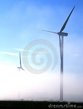 Free Giant Wind Turbines In The Fog Stock Photo - 3314960