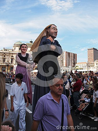 Giants and big heads in Bilbao Editorial Photography