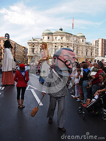 Giants and big heads in Bilbao Editorial Photo