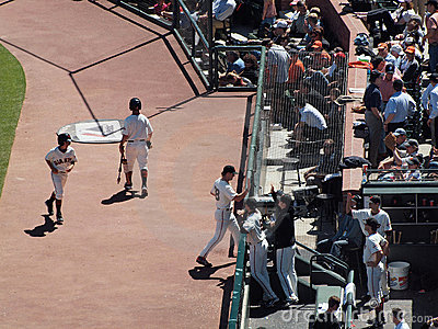 Giants Brian Wilson gives high fives in the dugout Editorial Stock Photo