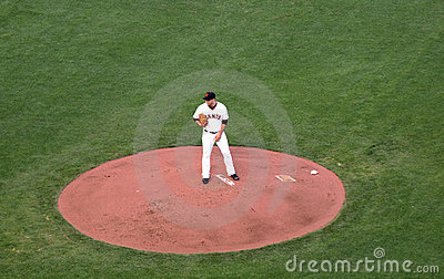 Giants Madison Bumgarner holds ball as he looks Editorial Photo