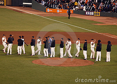 Giants Players give each other high fives Editorial Stock Photo