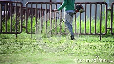 Giardiniere Man che lavora tosaerba, erba tagliata nel parco, slow motion stock footage