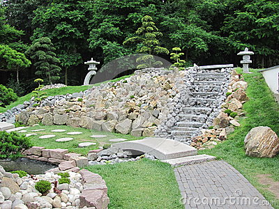 Giardino cinese con le scale di una fontana fotografia for Giardino cinese