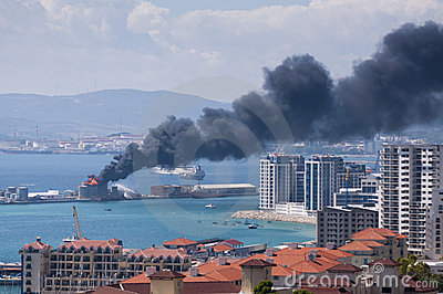 Gibraltar Fuel Tank Explosion Editorial Photo