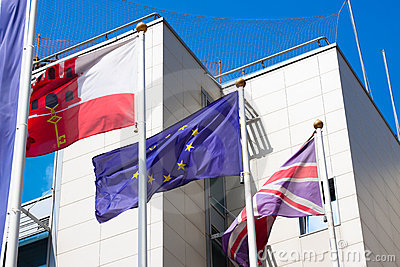 Gibraltar Great Britain European Union flags