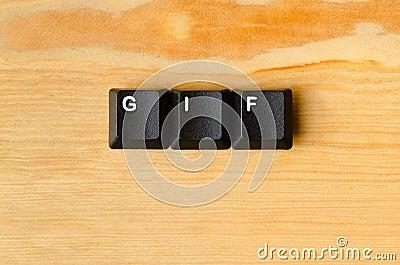 Gif word Stock Photo