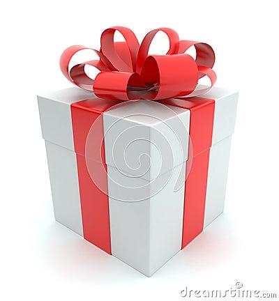 Gift 3D. White box, bow and ribbon