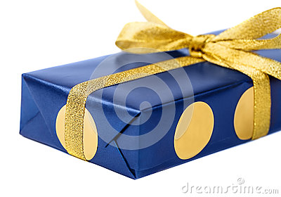 Gift blue box, isolated on white background.