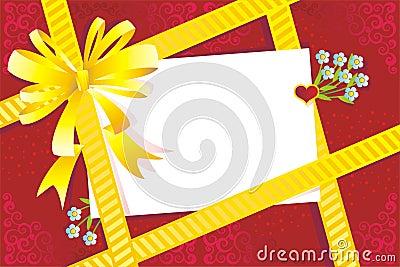 Gift, bow, blank card, embellishment