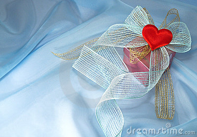 Gift with a bow and a heart