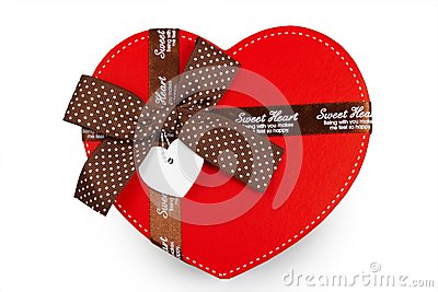 Gift box as heart with ribbon isolated