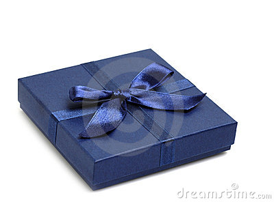 Gift box with blue holiday bow