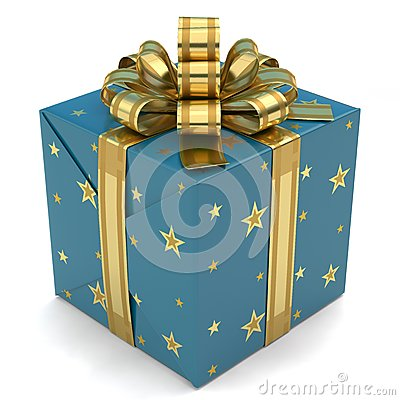 Free Gift Box Blue With Stars Stock Photo - 47921180