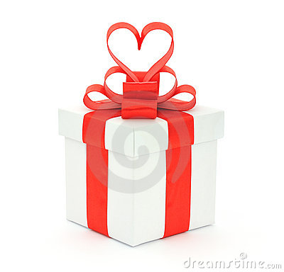 Gift box, bow and heart