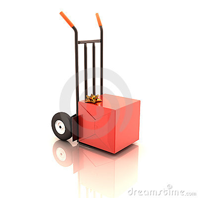 Gift box on the cart