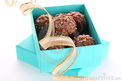 Gift box with chocolate truffle