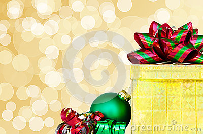 Gift box and Christmas ball - holiday s concept