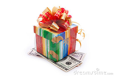 Gift box with dollar bills